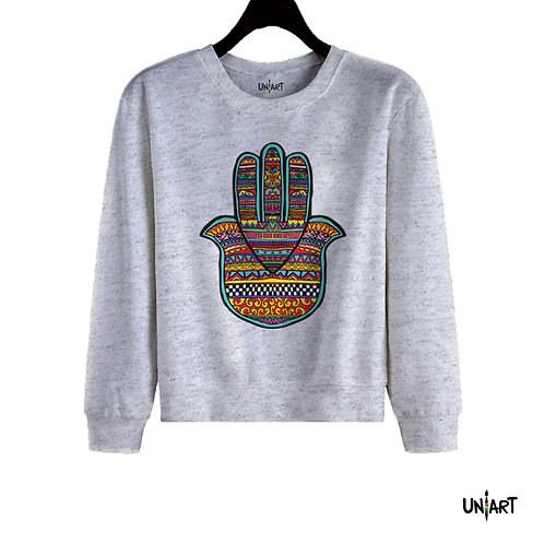 gray  handfatima pattern colorful sweatshirt crewneck hamsa uniart fashion drawings hala jafar graphic gypsy arabic culture