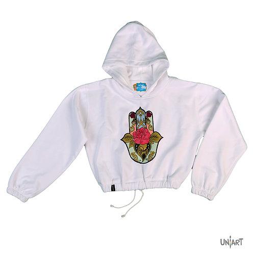 Fatima's Floral Hand crop hoodie