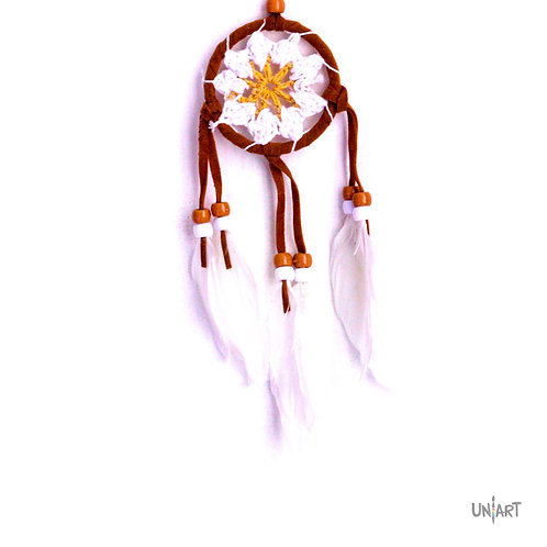 uniart 5cm car dreamcatcher decoration white brown boho bohemian gypsy feather handmade native indians americans crochet
