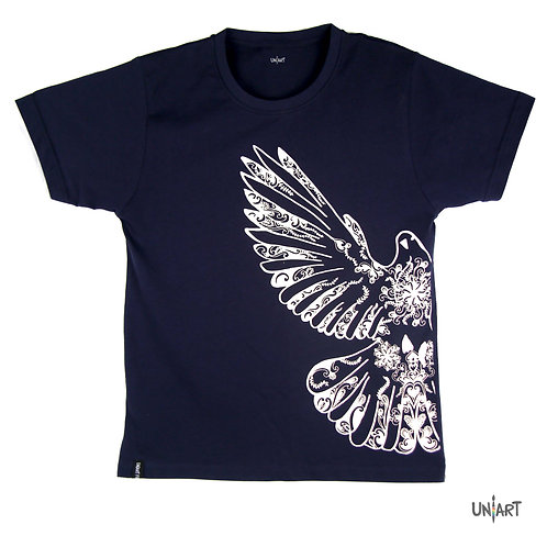 navy dove drawing tshirt blue and white floral pattern art amman jordan sky Pigeons