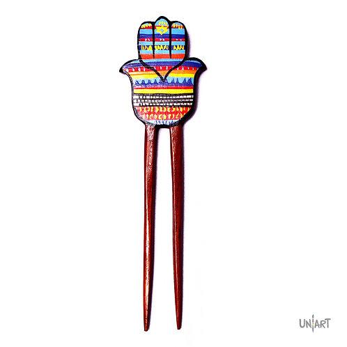 hand fatima hamsa colorful pattern arabic hairstick hair piece wood women accessories uniart handdrawing handpainted handmade