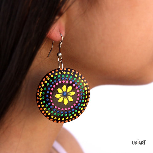 uniart accessories earring wood art colorful dotting round flower daisy handmade handpainted drawing
