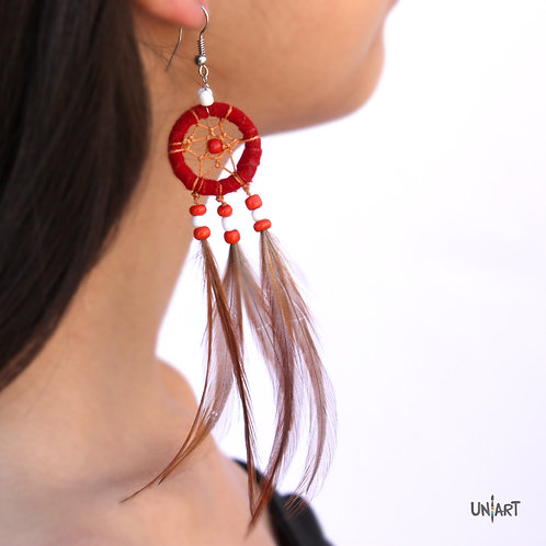 uniart accessories earring dreamcatcher feathers red carving art handmade boho gypsy bohemian