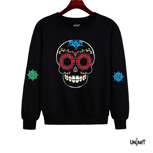 black sugar skull colorful sweatshirt crewneck uniart art fashion drawings hala jafar graphic mexican day of the dead