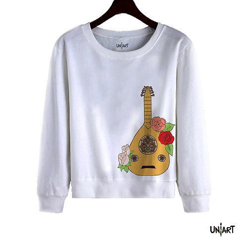 white oud flowers arabic music instrument women sweatshirt crewneck uniart fashion drawings hala jafar graphic gypsy musician