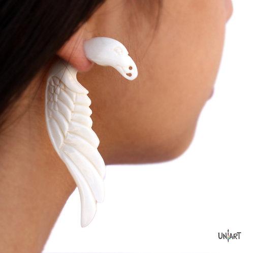 uniart accessories earring eagle feathers wings bone white carving art boneart bohemian boho gypsy