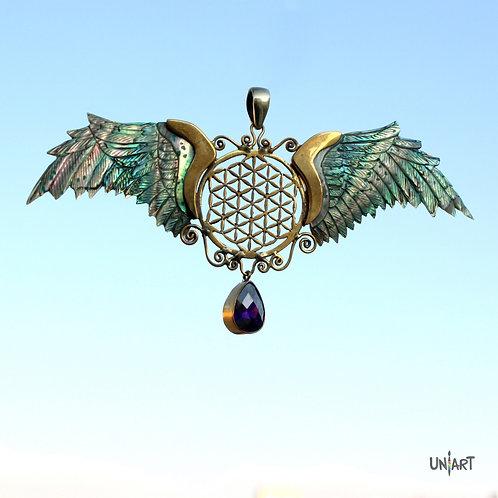 iridescent green paua wings geometry freedom pendant necklace flower of life uniart fantasy art paua handcarved handmade