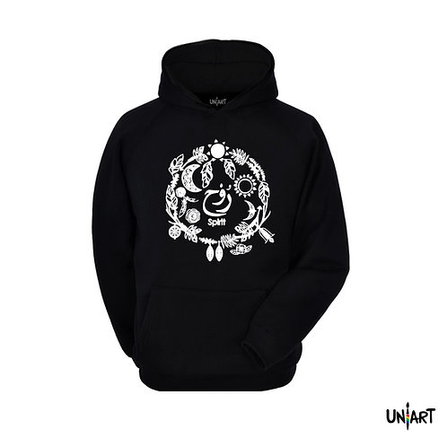 black spirit rwh hoodie sweatshirt raglan uniart fashion drawings doodle hala jafar graphic bohemian gypsy arabic calligraphy
