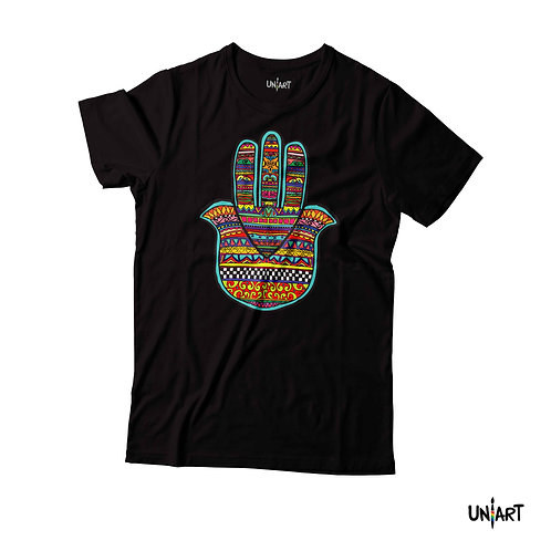 black handfatima pattern colorful tshirt tee hamsa uniart fashion drawings hala jafar graphic gypsy arabic culture