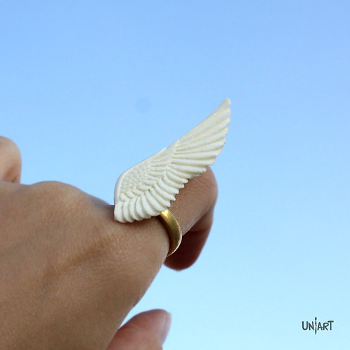 white wing ring accessories women wing unique uniart fantasy angel art bone hand carved feathers handmade gift