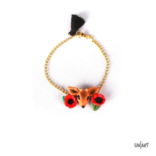 Al reem bracelet wadi feynan souvenir gift jordan deer dahnoun black iris handmade clay art boho women fashion accessories