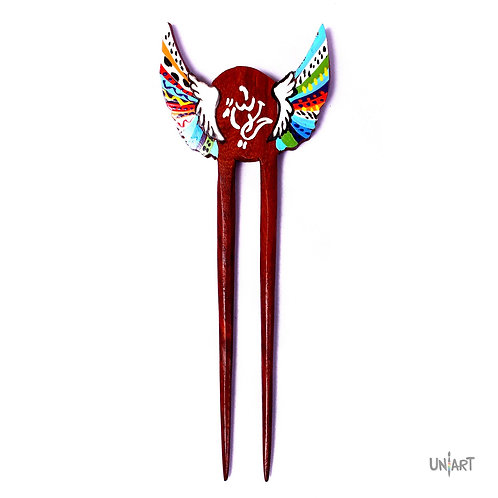 freedom wings colorful alhurriyah arabic hairstick hair piece wood women accessories uniart handdrawing handpainted handmade