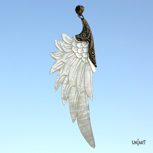 white wing pendant brass mother of pearl necklace iridescent uniart fantasy angel art shell handcarved feather handmade gift
