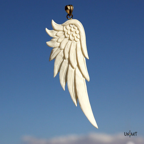 white wing pendant accessories men woman uniart fantasy angel art bone hand carved feathers handmade gift