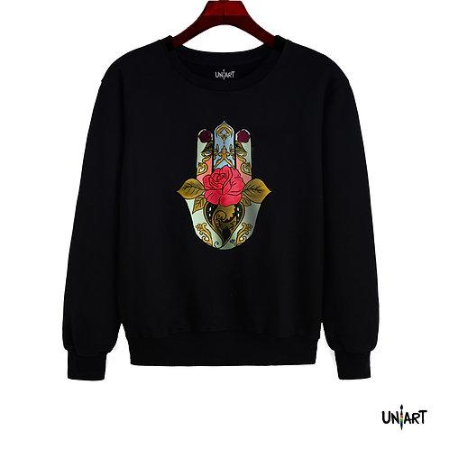 black handfatima floral sweatshirt crew neck hamsa uniart fashion drawings hala jafar graphic bohemian gypsy arabic culture