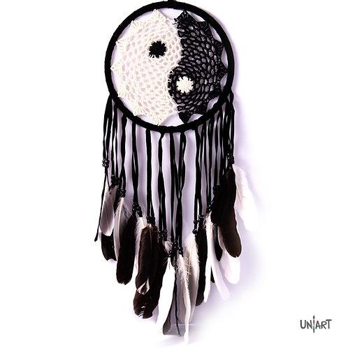uniart natural yinyang dreamcatcher decoration black boho bohemian gypsy feathers handmade native indians americans crochet
