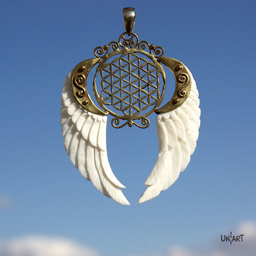white wings flower of life freedom geometry brass pendant necklace unique uniart fantasy art bone hand carved handmade gift