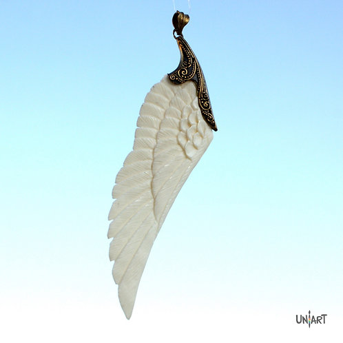 white wing pendant necklace accessories brass unique uniart fantasy angel art bone hand carved feathers handmade gift
