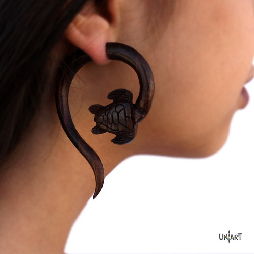 uniart accessories earring white wood turtle spiral carving art handmade boho gypsy bohemian