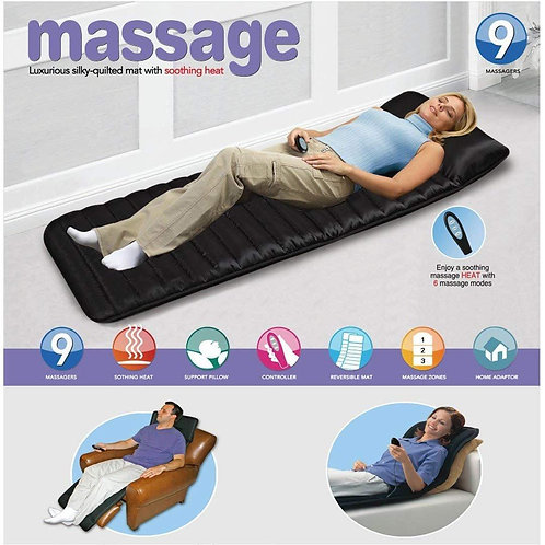 9 Massagers Mat,Luxurious Silky-Quilted Mat with Soothing Heat Massage Cushion