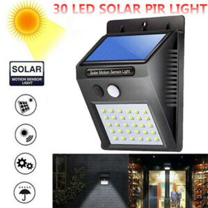 Solar Power 30 LED PIR Motion Sensor Wall Light