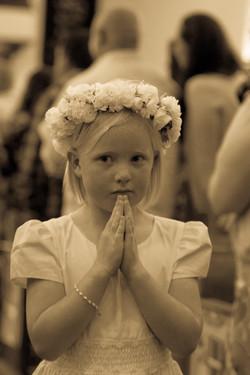 flowers by azalea_flower crowns by azalea_first communion_white flower crown_church_ceremony
