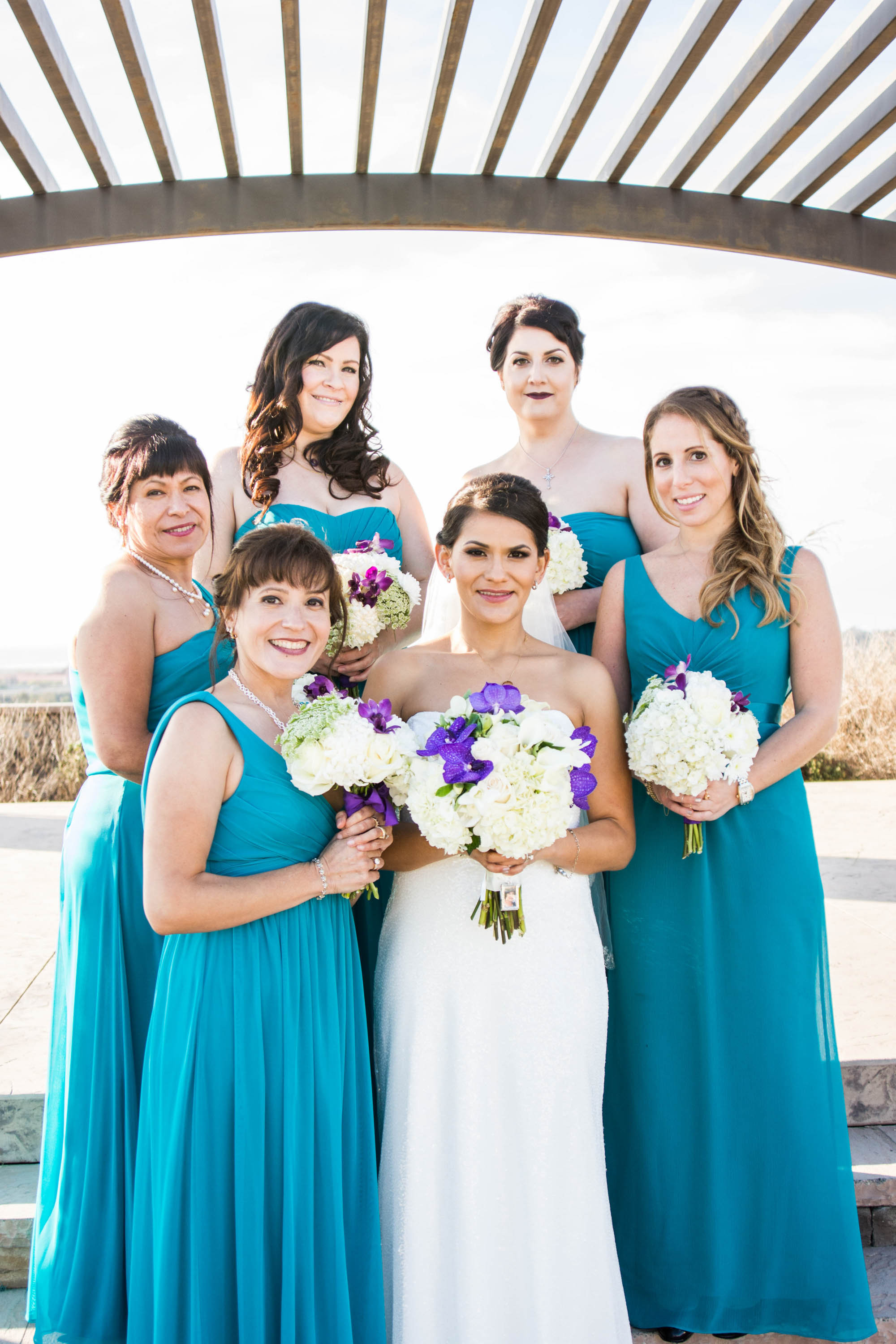 flowersbyazalea_Bride_bouquet_white_purple_teal_Bridesmaid_Dresses