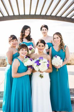 flowersbyazalea_Bride_bouquet_white_purple_teal_Bridesmaid_Dresses