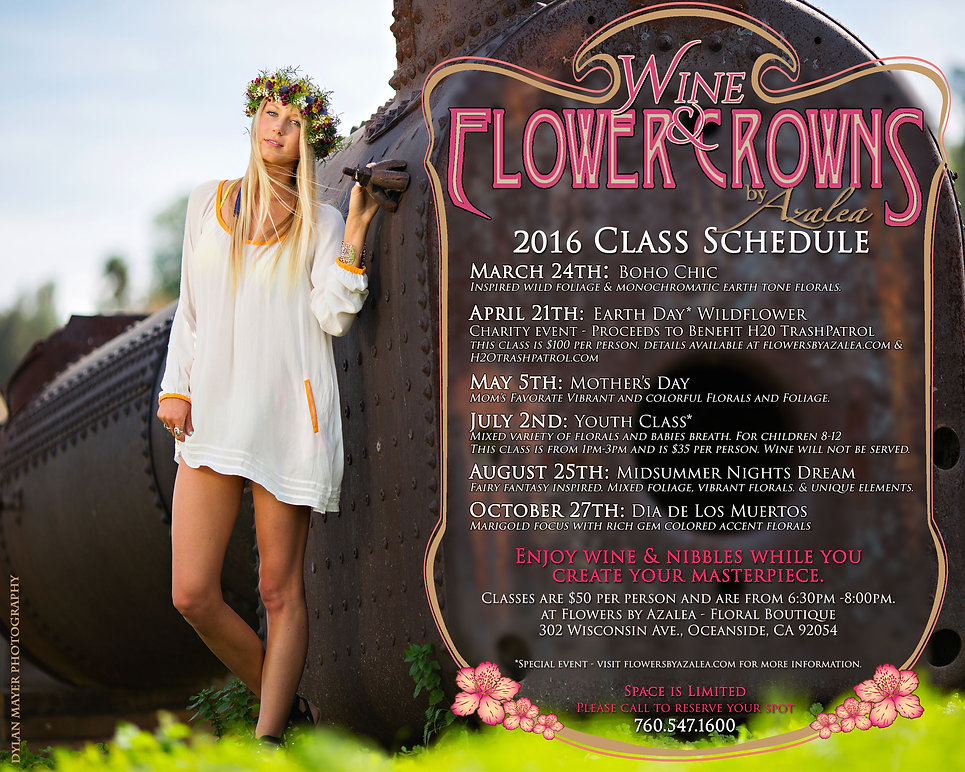 Flower Crown Classes and Workshops boho chic earthday events dia de los muertos midsummer nights dream