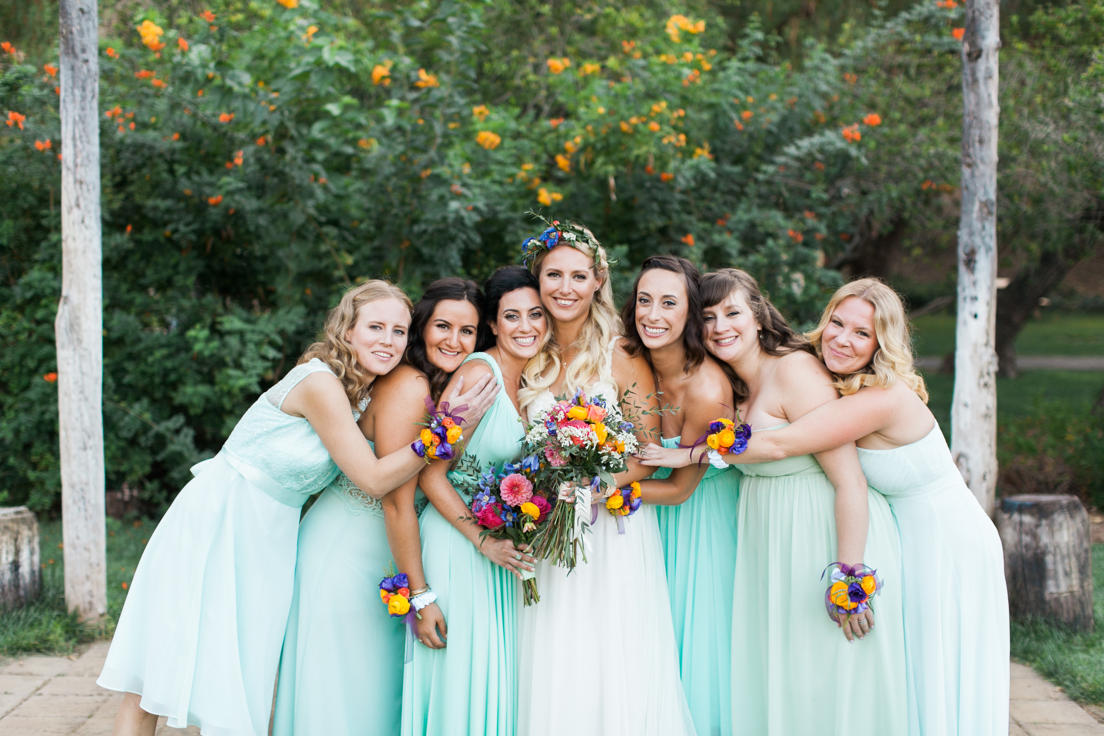 flowersbyazalea_Bride_bouquet_colorful_lace_spanish_romantic_Mint_Bridesmaid_Dresses