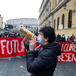 ITALY - Students protest against government measures