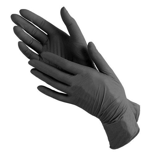 Перчатки нитриловые чёрные, S,  10шт