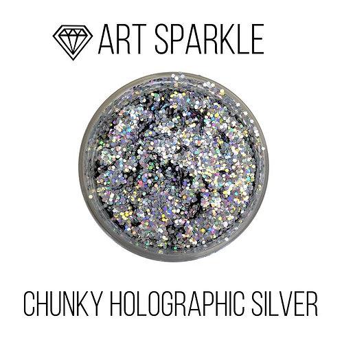 Глиттер крупный  Chunky Holographic  Silver, 50гр