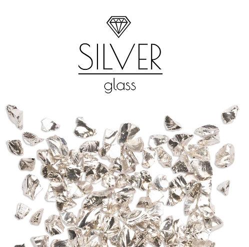 Серебряная стеклянная крошка Silver, фракция 3-6мм, 100гр