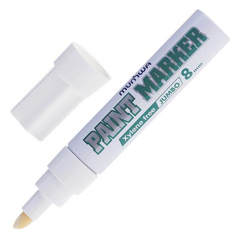 Маркер-краска лаковая 8 мм , White, Jumbo  алюминиевый корпус,MUNHWA