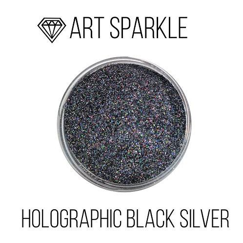 Глиттер мелкий Holografic Black Silver, 50гр