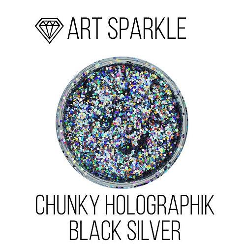 Глиттер крупный Chunky Holographik Black Silver, 50гр