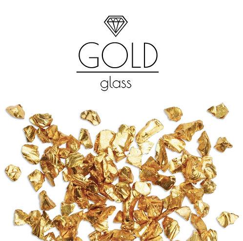 Золотая стеклянная крошка Gold, фракция 3-6мм, 100гр