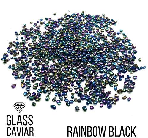 Стеклянная крошка Glass Caviar, Rainbow Black, 250гр