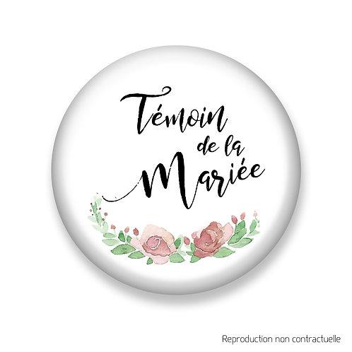 """Badge """"Fleurs Rose"""" Témoin de la Mariée"""