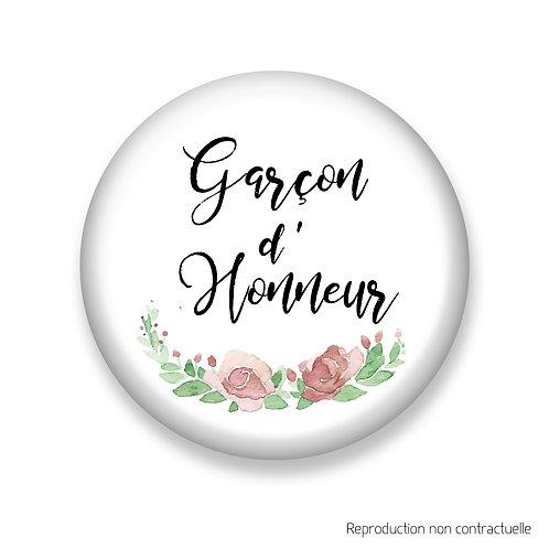 "Badge ""Fleurs Rose"" Garçon d'honneur"