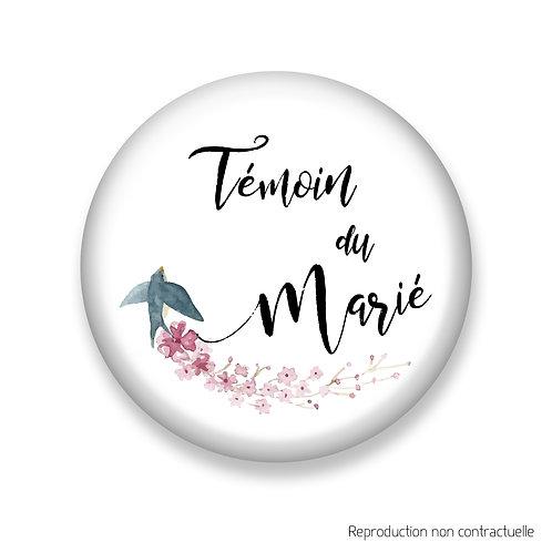 """Badge """"Oiseau"""" Témoin du Marié"""