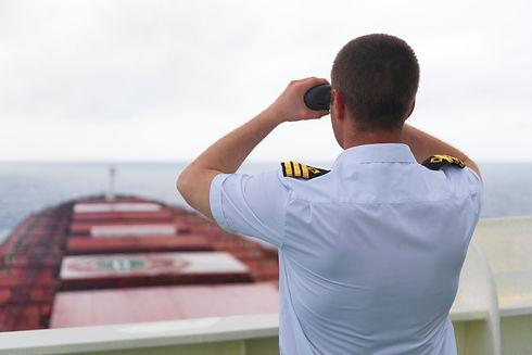 Navigator on the bridge of a large bulk