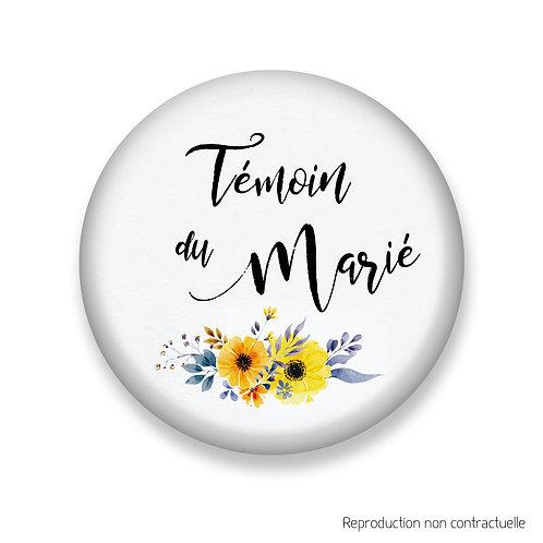 """Badge """"Fleurs jaune"""" Témoin du Marié"""