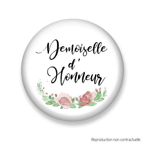 "Badge ""Fleurs Rose"" Demoiselle d'honneur"