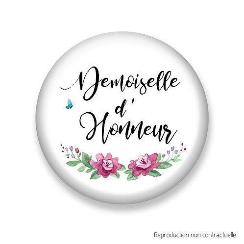 """Badge """"Rose & Papillon"""" Demoiselle d'honneur"""