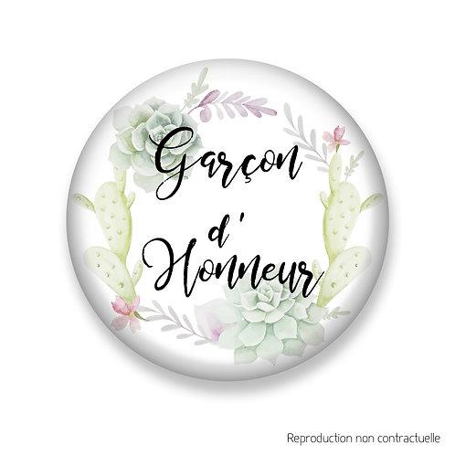 """Badge """"Succulents"""" Garçon d'honneur"""