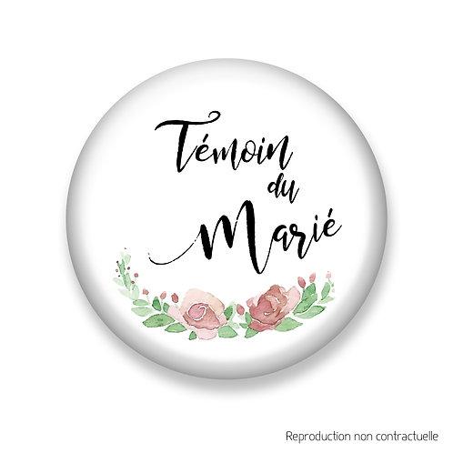 """Badge """"Fleurs Rose"""" Témoin du Marié"""