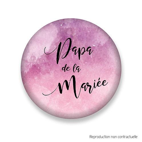 "Badge ""Rose Aquarelle"" Papa de la Mariée"