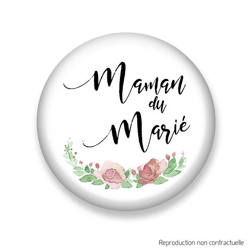 """Badge """"Fleurs Rose"""" Maman du Marié"""